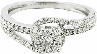 Diamond Engagement Ring Swirl Style 10K White Gold 8mm Wide 3/8cttw(i2/i3, i/j)