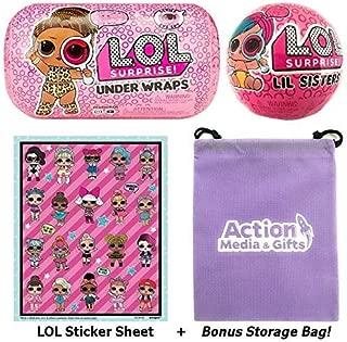 LOL Surprise Dolls Wave 2 Bundle Includes (1) Innovation Series 4 Under Wraps + (1) Eye Spy Lil Sister + LOL Sticker Sheet with Compatible Toy Storage Bag!