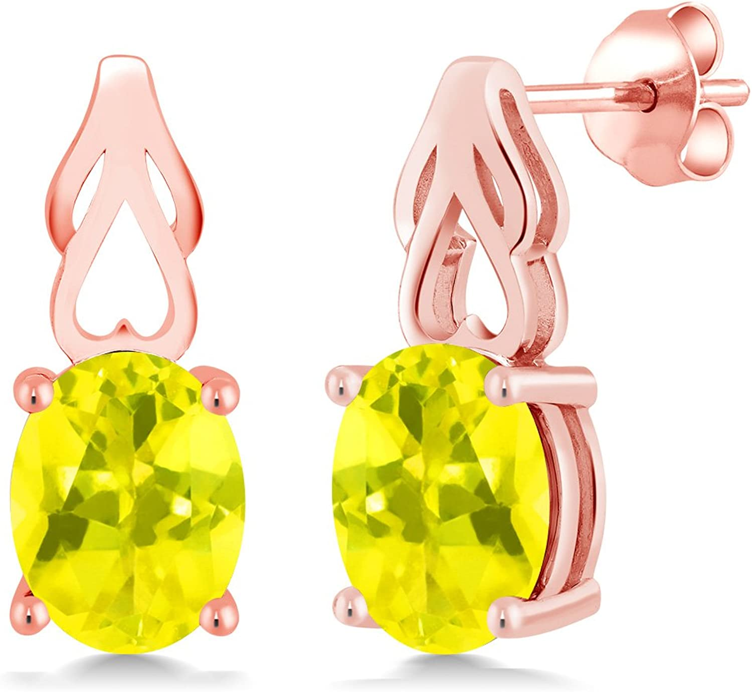 3.60 Ct Oval Canary Mystic Topaz 18K pink gold Plated Silver Earrings