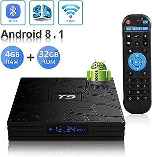 Android TV Box, T9 Android 8.1 4GB RAM/32GB ROM RK3328 Quad-Core Media Box Support 2.4Ghz WiFi 64 Bits H.265 Bluetooth 4.1 DLNA UHD 4K Mini TV Box