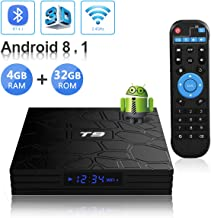 Android TV Box, T9 Android 8.1 4GB RAM/32GB ROM RK3328 Quad-Core Media Box Support 2.4Ghz WiFi 64 Bits H.265 Bluetooth 4.1 DLNA UHD 4K Mini TV Box