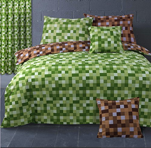 HBS Ltd Pixel Checked Squares Bedding Set Single Bed Duvet/Quilt Cover and Pillowcase Green/Brown
