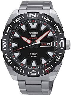 SRP743J - Seiko 5 Sports Automatic, 24 Jewels, Calendar, 100m Water Resistant, Black Dial, Stainless Steel, Silver