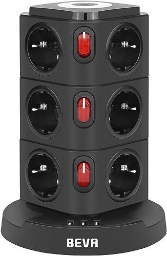 BEVA Tour Multiprise 12 Prises et 3 Ports USB, Multi Prises Électriques avec Veilleuse, Multiprise USB Verticale, Pro...