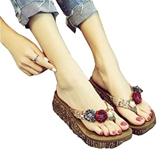 52dadd16a5278 T-JULY Womens Ladies Bohemian Flower Flip Flops Wedge High Heels Sandals  Slip On Summer