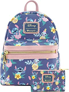 Disney Stitch Scrump Floral Mini Backpack Wallet Set by Loungefly (L. Blue)