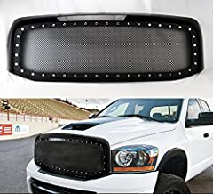 Black Rivet Style SS Wire Mesh Grille+Shell For Dodge Ram 1500 2500 3500 06-08