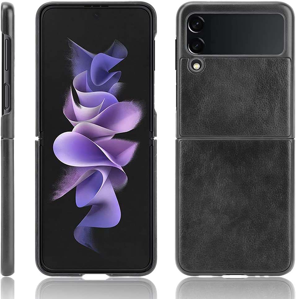 Pauplian Compatible Galaxy Z Flip 3 Case,Inside is Ultra Thin Hard PC Shookproof,The Outer Surface is Leather Folding Anti-Drop Wear-Resistant for Samsung Galaxy Z Flip 3 Case(Black)