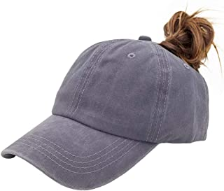 6c0d4f2d5c579 Eohak Ponytail Baseball Hat Distressed Retro Washed Cotton Twill