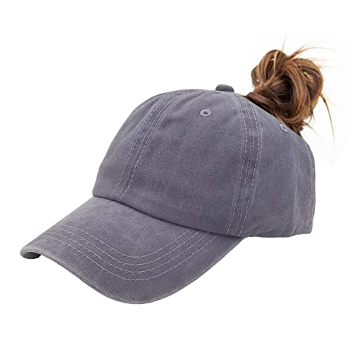 3baf90ede1a Eohak Ponytail Baseball Hat Distressed Retro Washed Cotton Twill