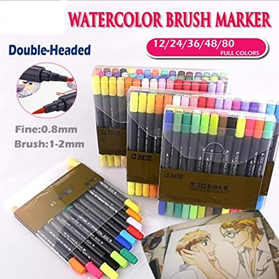 Watercolor Dual Brush Marker Soft Flexible Tips for Drawing Blending as Aquarelle Calligraphy Pen Anime Comic Markers (24 Colors)