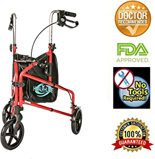 HEALTHLINE 3 Wheel Rollator Walker for Seniors, Foldable Lightweight Three Wheel Walker Traveler Mobility Rollator 3 Wheel Walker with Basket Tray, Pouch, Brakes, Narrow Walkers for Small Spaces, Red