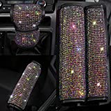 Pinbola Shining Bling Auto Seat Belt Cover & Handbrake Cover & Shift Gear Knob Cushion Luster Crystal Diamond Car Decor Accessories (4 pcs in 1 Set) (Color)