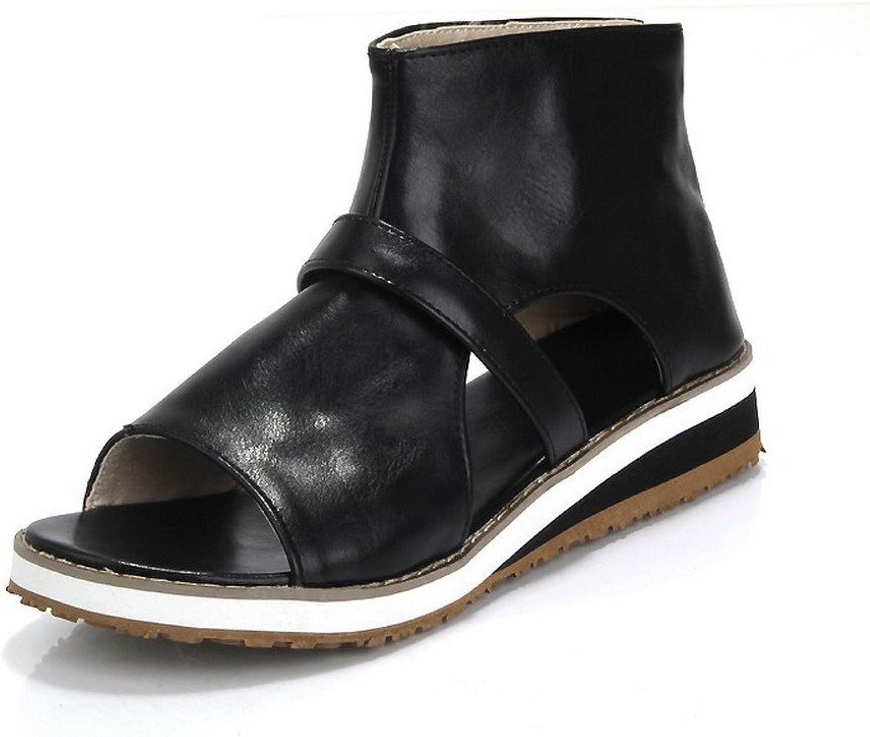 AmoonyFashion Women's PU Solid Zipper Open-Toe Low-Heels Sandals