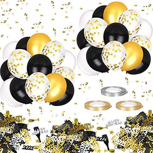 Hook 60 Pcs Luftballons Gold Schwarz, Silvester luftballons Ballons Gold Geburtstagsdeko Geburtstag luftballons für Birthday, Neujahr, Geburtstag und Geburtstagsdeko, 1 Set Konfetti Tischdeko(15 g)