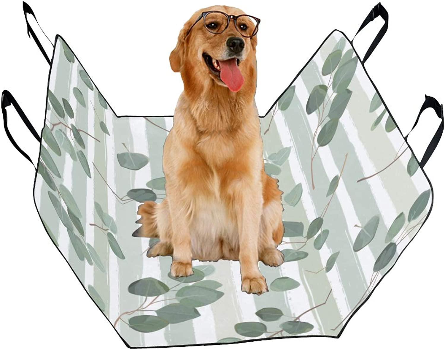 Fashion Oxford Pet Car Seat Eucalyptus Plant Hand Painted Waterproof Nonslip Canine Pet Dog Bed Hammock Congreenible for Cars Trucks SUV