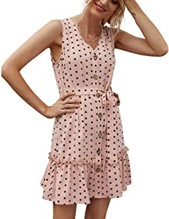 Summer Dress for Women, Ladies Fashion Dot Printed Button Mini Dress Casual Dress with Belt