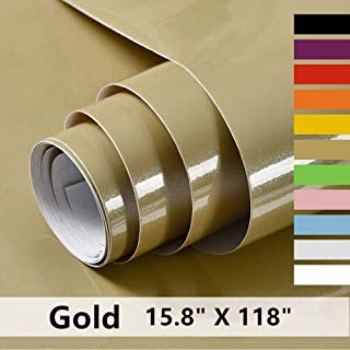 Gold Contact Paper Decorative Self Adhesive Vinyl Film Gold Wallpaper for Furniture Cabinet Countertop Shelf Paper,Durable,Leave No Glue Surfaces Easy to Clean 15.8