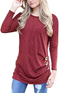 Mikey Store Women Long Sleeve Loose Button Trim Blouse Solid Round Neck Tunic T-Shirt