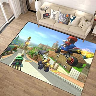 超级马里奥兄弟 Super Mario Bros 地毯 160x200 可洗 夏季用 旗子 时尚 垫子 可洗 防螨 防滑 可折叠 大 - 四季适用-A_80x120cm