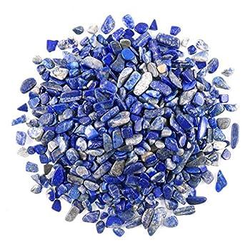 WAYBER 1 Lb/460g Deep Blue Lapis Lazuli Pebbles Irregular Decorative Stones Natural Crystal Rock Gravel for Aquarium/Fish Turtle Tank/Succulent Plants/Air Plants Decoration  Fill 0.9 Cup