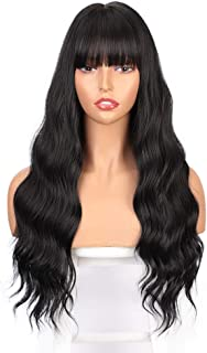ENTRANCED STYLES Long Black Wig with Bangs Wavy Hair Wigs for Women Heat Resistant Synthetic Wig Natural Looking Realistic...