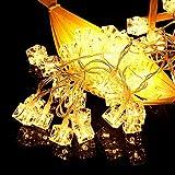 YLSMN 40LED cabeza cuadrada cóncava forma de hielo caja de batería cadena de luz decoración de fiesta navideña iluminación lampara de mesa de noche