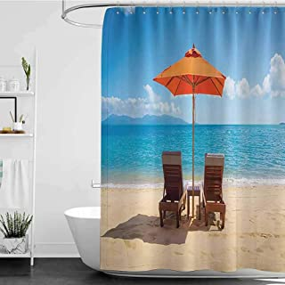 homecoco Shower Curtains Nerdy Coastal Decor Collection,Two Chairs Near Caribbean Sea Under Colorful Umbrella Wedding Celebrations Picture,Orange Blue W48 x L72,Shower Curtain for Shower stall