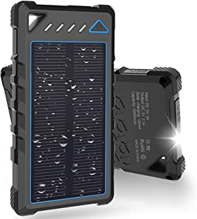 $23 » Solar Charger, BEARTWO 10000mAh Upgrade 2020 Solar Phone Charger, Ultra-Compact Portable Charger with Dual USB Backup Battery Pack, Solar Power Bank with Flashlight for Camping, Outdoor Activities
