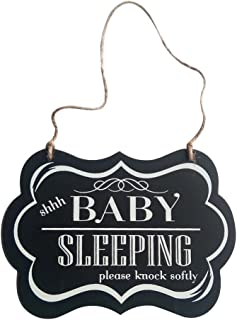 Goolsky Wall Hanging Ornament Painted Wood Decorative Shhh Baby Sleeping Door Sign Black Decoration for Home Party Supply ...