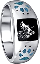 Gem Avenue Mens 925 Sterling Silver Southwestern Style Turquoise Gemstone Paw & Claw Wolf Ring