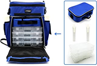 Adygil Fishing Tackle Bags Station with 4 pcs Medium Plastic Tackle Boxs and 1 pcs Cooler Bags