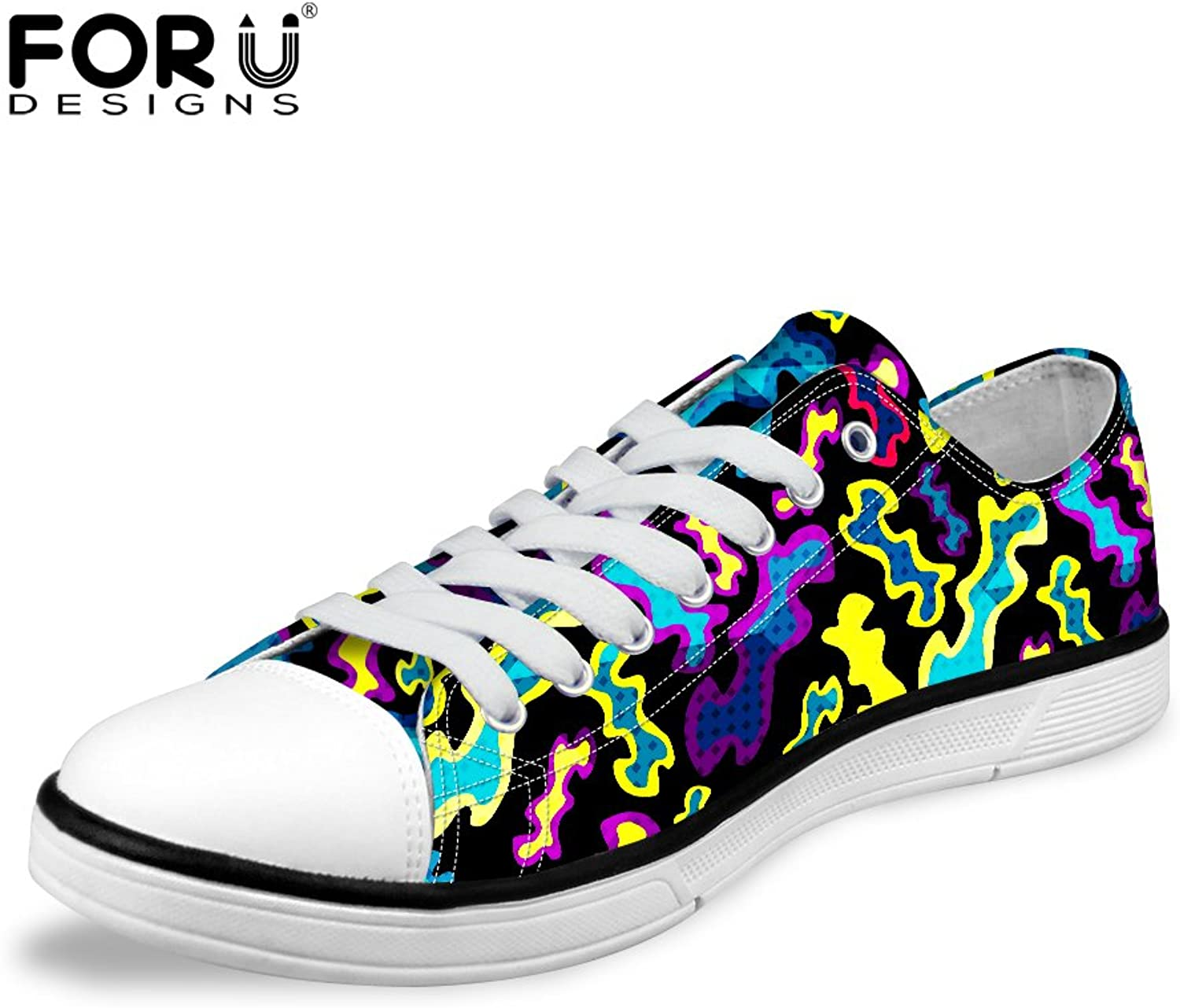 FOR U DESIGNS Stylish Glitter Women Low Top Lace-Up Comfort Canvas Trail Sneaker US 8