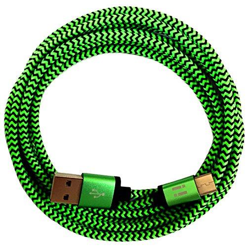 321ElectroniX® 1m Premium Nylon USB-C Typ C Ladekabel Datenkabel für Handy Tablet Smartphone | grün