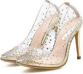 Rivets Pointed Toe High Heels Women Pumps Transparent PVC Crystal High Heel Shoes
