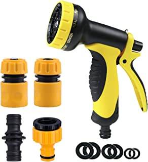 Topways® Hose Pipe Fitting Set, including Multi Spray Nozzle Watering Gun, Hose End Quick and Waterstop Connector, Threade...