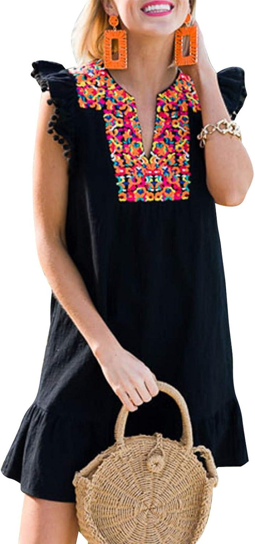 Hocrelov Women's Summer Boho Mini Dress Emb Neck V Animer Popular product and price revision Casual Floral
