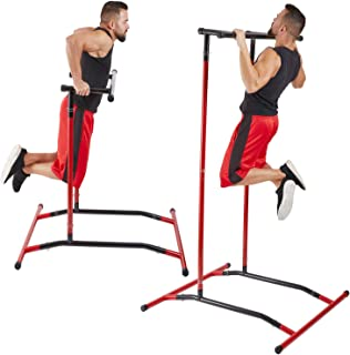 GoBeast Pull Up Bar Free Standing Dip Station – Portable Power Tower Home Gym Equipment With 3 Resistance Bands, Storage Bag And Downloadable Exercise Manual,  Red Black