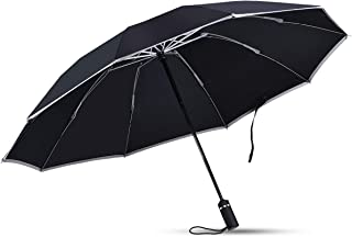 Portable Travel Folding Umbrella, Lightweight 10 Rib Automatic Open Umbrella Automatic Weatherproof Shed Reflective Coating Travel Security - Men's & Ladies