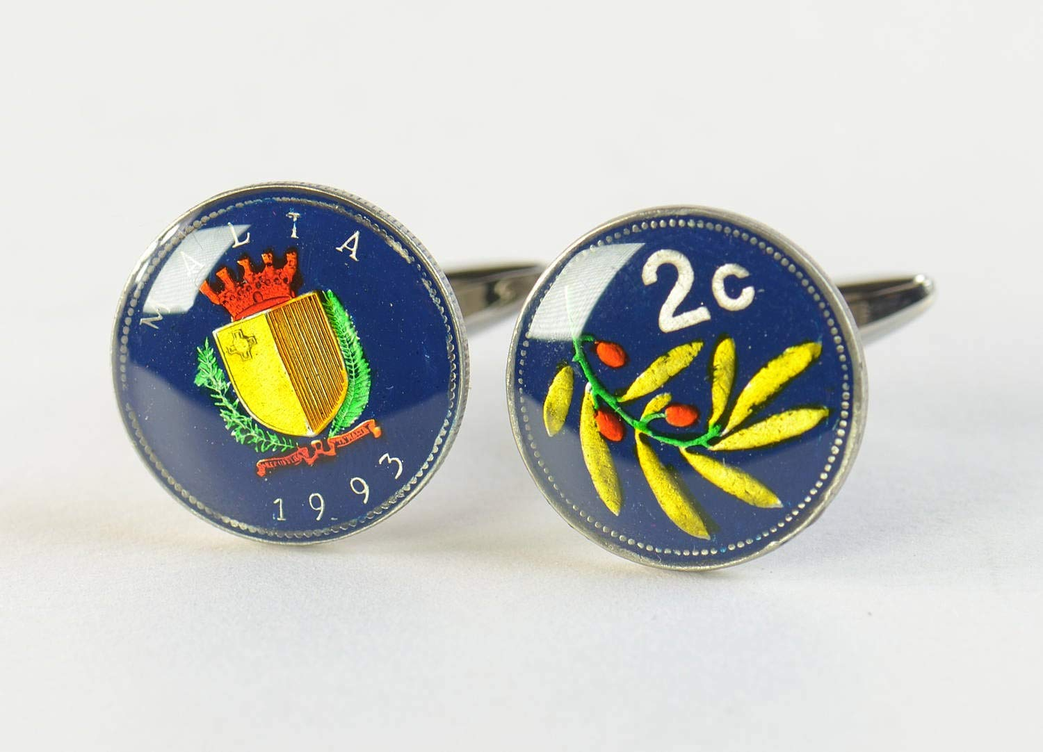 Cufflinks hand Special price painted enamel coin New popularity coin. Malta