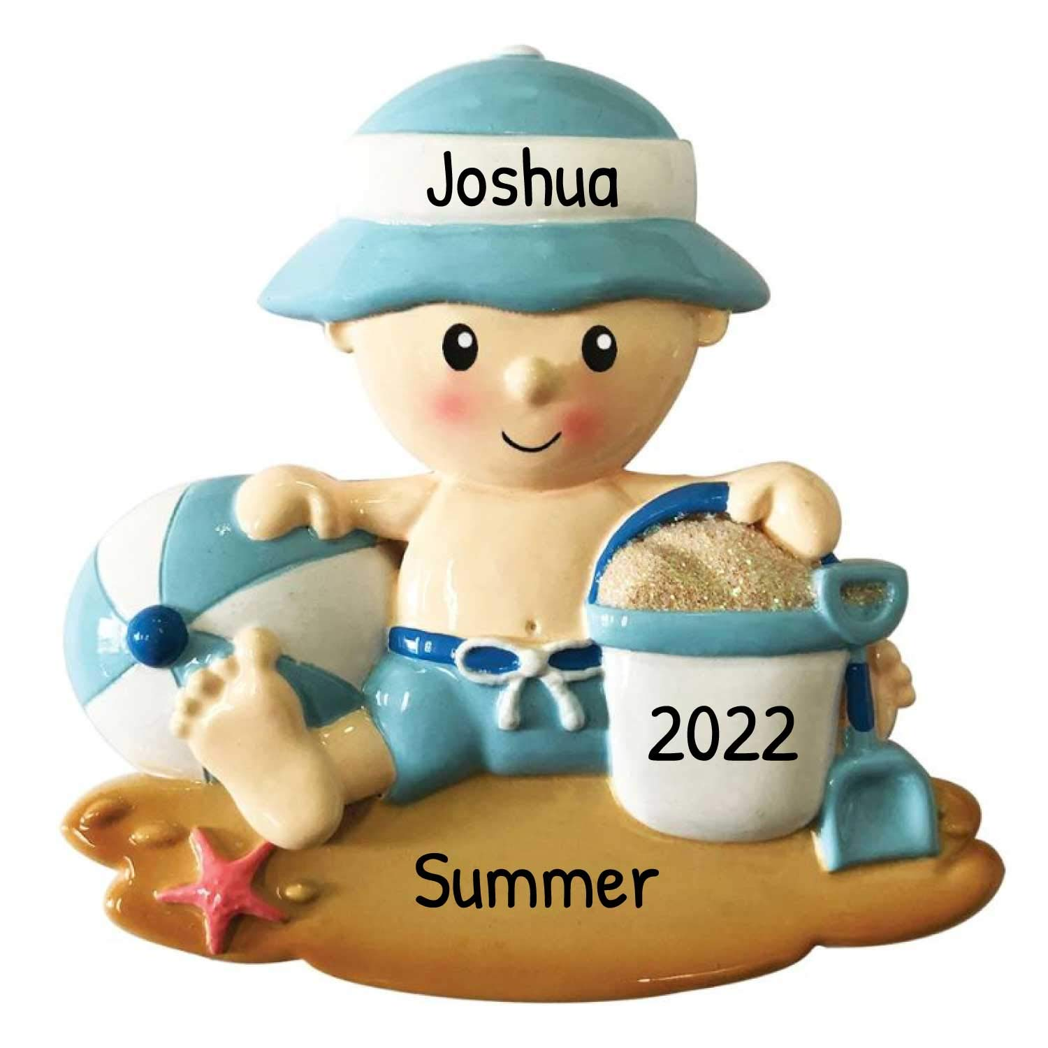 Beach Vacation Christmas 2020 Amazon.com: Personalized Beach Baby Boy Christmas Tree Ornament