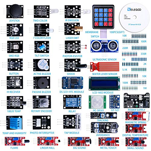 Elegoo 37-in-1 Kit Modulo Sensore Elettronici V2.0 con Tutorial in Inglese Compatibile con Arduino IDE