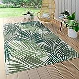 Paco Home In- & Outdoor Teppich Flachgewebe Jungel Gecarvtes Florales Palmen Design Grün, Grösse:120x170 cm