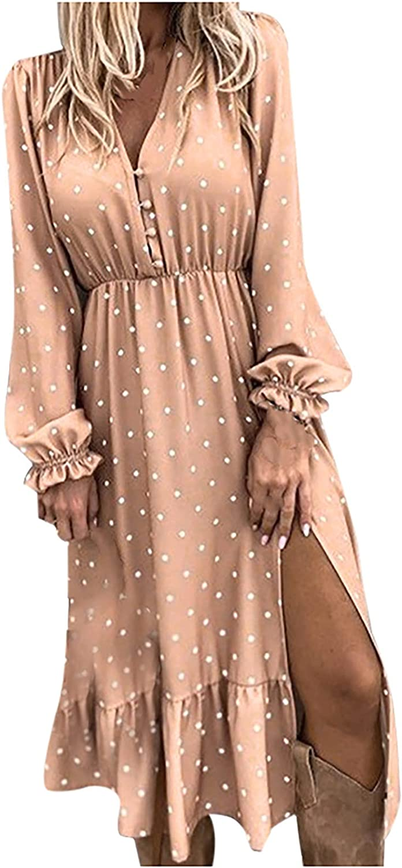 Women's Long Sleeved Dress Casual Loose Dress Sexy Split Maxi Dresses Polka Dot Ball Gown Waisted Long Dress