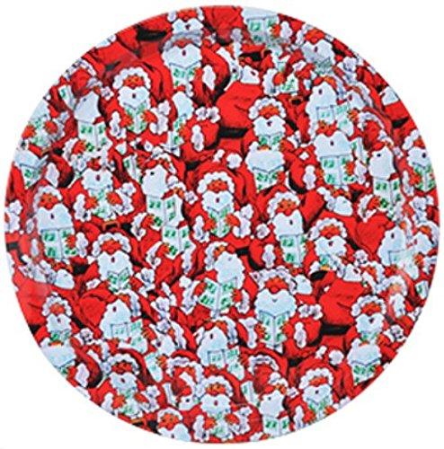 Gravidus kerstbord van metaal met platte rand, diameter 32 cm Design 4
