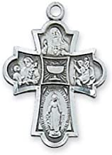 Catholic Boy's First Communion Necklace - This Antique Silver Plated Over Pewter Traditional Catholic 4-way Medal Features the Sacred Heart of Jesus, St. Joseph, St. Christopher, Miraculous Medal and First Communion Chalice in the Middle and Comes with a 18