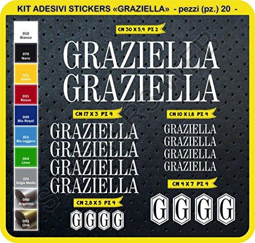 Adesivi Bici GRAZIELLA Kit Adesivi Stickers 20 Pezzi -Scegli SUBITO Colore- Bike Cycle pegatina cod.0098 (Bianco cod. 010)
