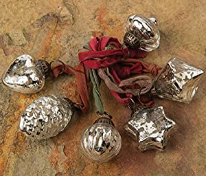 SIX BEST-SELLING MERCURY GLASS ORNAMENTS: Our Heart, Pine Cone, Fine Line, Star, Diamond, and Onion Designs. RARE SMALL SIZE. Approximately 1 - 1.5 inches in diameter, a hard-to-find size. BEAUTIFUL HEIRLOOM QUALITY: Good weight, antiqued metallic fi...
