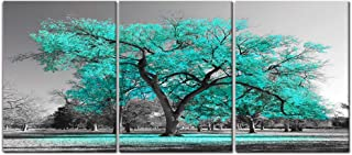 Visual Art Decor 3 Pieces Teal Green Tree Landscape Black and White Picture Prints Framed Premium Gallery Decor Painting Wall Decoration for Modern Living Room Office