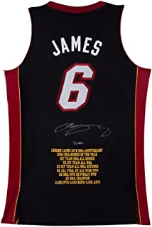 LeBron James Signed Miami Heat 10th Anniversary Stats Jersey, UDA - Limited to 50